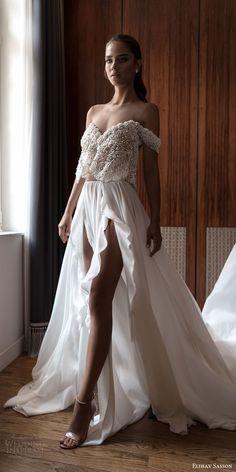 elihav sasson spring 2018 bridal off shoulder sweetheart beaded bodice a line wedding dress (vj 002) mv train slit skirt two piece -- Elihav Sasson 2018 Wedding Dresses