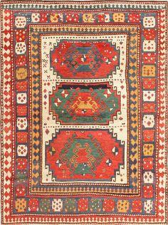 antique tribal caucasian kazak rug 47371 main Antique Tribal Caucasian Kazak Rug 47371  http://nazmiyalantiquerugs.com/antique-rugs/antique-product-type/antique-tribal-caucasian-kazak-rug-47371/