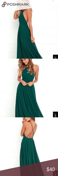 Lulus Mythical Kind of Love Dark Green Maxi Dress Beautiful dark hunter green maxi dress from Lulus. Runs a little on the large size. I typically wear a 4-6 and opted for the XS because I wanted the top to be tight on my chest. This item is brand new with tags in perfect condition. I purchased it as a bridesmaid dress and the wedding was called off so I no longer need it. It is so flattering and a great dress. Lulu's Dresses Maxi