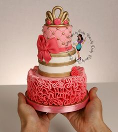"Three tier mini cake in pink and gold (2"", 3"", 4"") - Cakes by Dusty"