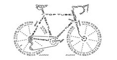 """Illusion: American graphic artist, printmaker, and designer Aaron Kuehn's """"Bicycle Typogram"""" (above), is a clever piece of typographical art that you can study to bone up on your knowledge of bike parts. I covet a print of this for my own home in a bright neon yellow if he ever makes one in that color (hint,.... http://illusion.scene360.com/design/46579/aaron-kuehns-clever-typograms/"""