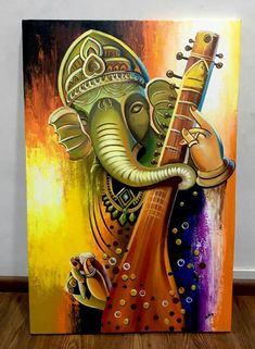 New music painting acrylic canvases ideas Lord Ganesha Paintings, Ganesha Art, Krishna Painting, Krishna Art, Buddha Kunst, Buddha Art, Easy Canvas Painting, Canvas Art, Tarot