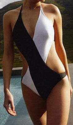 Love this Unique Swimsuit Design! Sexy Black and White Halter One-Piece Swimwear