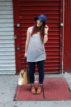 {Fourth of July - Simply Audree Kate} H&M tank and jeans, Soda booties, Buffalo Exchange hat, Steve Madden purse