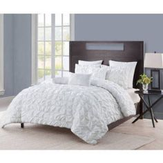 Vcny Maya Pinch Pleat Comforter Set with Euro Shams, Multiple Colors, White