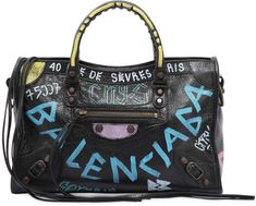 Balenciaga Small City Graffiti Leather Bag