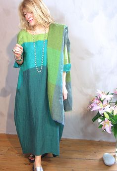 Striped Dress, £295 with linen shawl £65 (various colours).