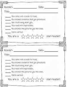 "Reader of the Day-have students read for 5 minutes to the class different days of the month.  Freebie letter and ""scoring guide"" download here!"