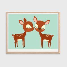 Deer In Love Poster  Modern Animal by SealDesignStudio on Etsy, $12.00