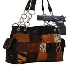 Cleto Brown Fashion Patch Signature Conceal and Carry Purse : Conceal and Carry Purses