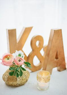 Glittery gold wedding monogram-great accent on a guest book or escort card table. {Photo by Kristyn Hogan via Project Wedding} Monogram Wedding, Gold Wedding, Dream Wedding, Wedding Shoes, Wedding Cake, Wedding Dresses, Glitter Vases, Anniversary Parties, Reception Decorations