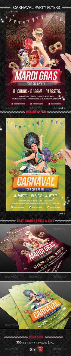 """Carnaval Party Flyer Template #GraphicRiver Carnaval Party Flyer Template A sexy, modern, and exclusive flyer, poster, invitation, night club party. Is really easy and fun to make color combinations, please enjoy! Features • The final package you download include 1 fully layered, renamed, grouped PSD files. • Easy to modify, change colors, dimensions, all text editable. • Size: 4.3×6.7"""" • CMYK, Guides & 300 DPI: Print ready! • Easy model photo and text replacement • Very well organized and…"""
