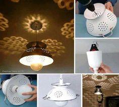 Leuke lampjes in keuken, gemaakt van een vergiet