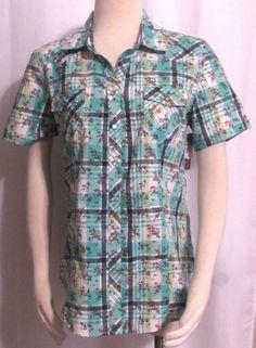 NEW Womens Ladies BIT & BRIDLES Teal & Navy Plaid & Floral Western Shirt Top M #BitBridles #SnapFrontBlouse #VERSATILE