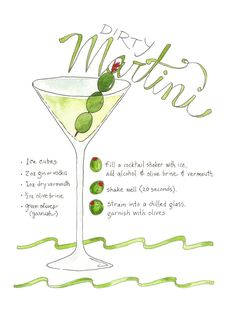 Cocktail Dirty Martini Illustrated Recipe Art Print #cocktailrecipes