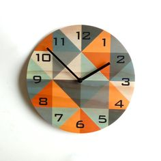 Objectify Grid Orange-Grey Plywood Wall Clock With Black