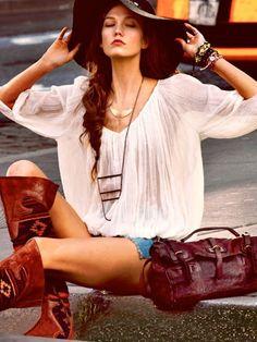 Boho fashion: peasant cotton gauze shirt, wide-brin hat, knee-high boots. ~ trish  #boho #bohemian #clothes #fashion