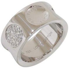 027e148065cd Louis Vuitton 18K White Gold Diamonds Empreinte Ring Size 7.75 Anillos