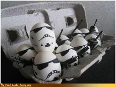 Well here's an idea for Easter! Instead of dying eggs, I shall dress them up as stormtroopers! #starwars #easterideas