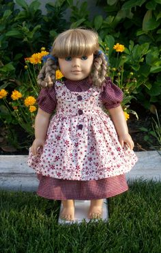 American Girl Maroon Prairie Dress by RuthielovestoSew on Etsy, $38.00