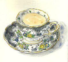 Duchess 1910's Teacup #2 (Deb Dugan) Tags: watercolor teacups kremer penink