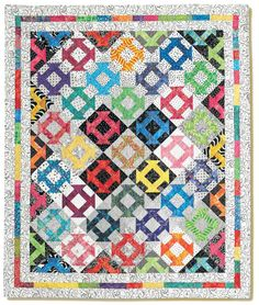 Dash to the Corners quilt by Susan Mayer.  Susan pieced her quilt top with a straight, block-to-block setting, then creatively cut it apart and reassembled it. Give her technique a try!  Get the free pattern: www.freequiltpatterns.info/quilt-pattern-designer---susan-mayer---dash-to-the-corners.htm