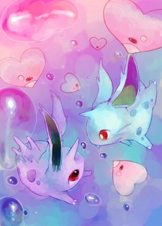 Happy Vday by Yen-cat these Nidoran friends were just going for a nice platonic swim when a bunch of Luvdiscs had to gather around and make it awkward