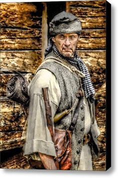 """On the American Frontier: """"True to its Scottish and Irish roots, the culture that dominated this region was openly unafraid of higher authority, intent on personal honor, quick to defend itself against of attack of any sort, and deeply patriotic.""""  Frontiersman Stretched Canvas Print / Canvas Art By Randy Steele - This print can be purchased from Fine Art America"""