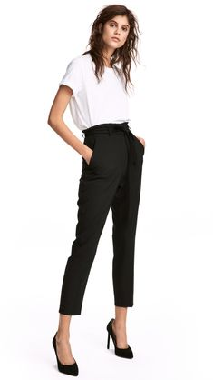 Trousers in a lightweight weave with a high, elasticated waist, concealed hook-and-eye fasteners and a zip fly. Detachable tie belt at the waist, side pocke New Outfits, Fashion Outfits, Slacks For Women, Style Minimaliste, New Fashion Trends, Latest Trends, Minimal Fashion, Leggings, Feminine Fashion
