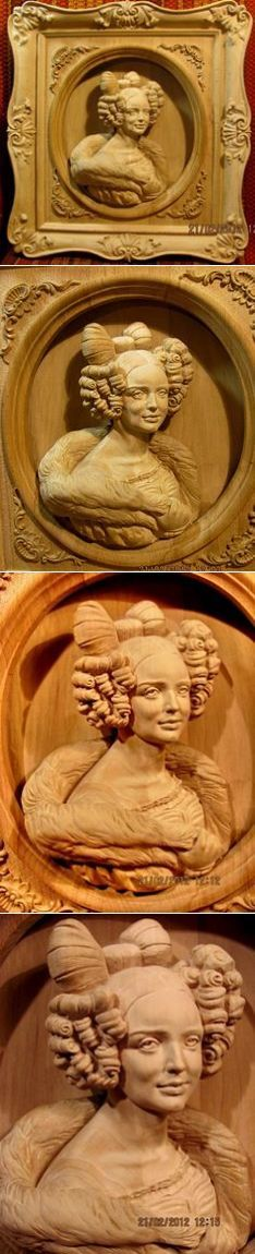 Горельеф 'Портрет Рюминой' от Владислава Мосцевого #woodcarving