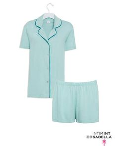 Comfy PJ's in a pretty color called, Moonlight Jade, and  made with super soft pima cotton. This set would be great to lounge around the house.