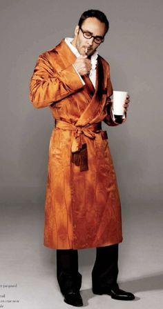 Tom Ford mens silk robe/smoking robe, cognac color
