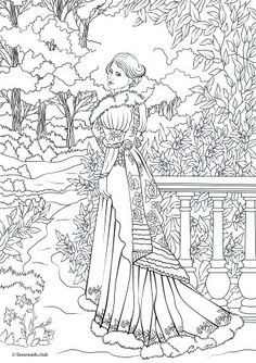 Stunning Victorian fashionista is showing her gorgeous outfit. This coloring page is vibrating with style and beauty.