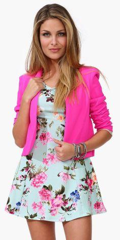 Pink Blazer over a Floral Dress #dress #pinkblazer