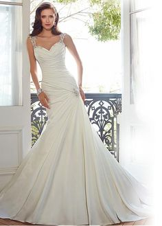 Elegant Satin & Tulle Sweetheart Neckline Natural Waistline Mermaid Wedding dress With Beaded Lace Appliques