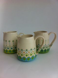 jugs by Katrin Moye ... might be able to replicate this design on my flowerpot