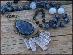 THUNDER AND LIGHTNING. Larvakite, snowflake Jasper, quartz and black onyx rustic halo gemstone necklace ooak statement piece