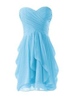 []  Dressystar Short Strapless chiffon party dress evening dress Blue 8 []---