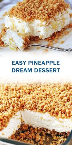 INGREDIENTS CRUST 2 cups Graham cracker crumbs 1 stick Unsalted butter, melted 4 tablespoon Granulated sugar F. Diabetic Desserts, Healthy Dessert Recipes, No Bake Desserts, Easy Desserts, Delicious Desserts, Healthy Food, Granny's Recipe, Pineapple Desserts, Summer Desserts