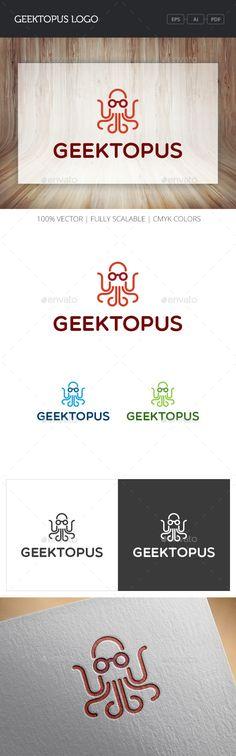 Geektopus Logo (AI Illustrator, Resizable, CS, animal, aqua, aquarium, blue, geek, geeky, glasses, green, line, marine, nerd, nerdy, ocean, octogeek, octopus, red, sea, seafood, simple, squid, tentacle, water)