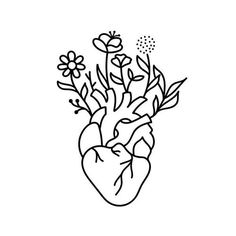 Our tattoos last weeks and fade as your skin naturally regenerates. Painless and easy to apply. Delivered to your doorstep. Outline Drawings, Art Drawings Sketches, Tattoo Drawings, Outline Art, Anatomical Heart Drawing, Cute Flower Drawing, Tattoo Signs, Minimalist Drawing, Heart Illustration