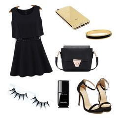 """""""Little black dress"""" by zahirovic ❤ liked on Polyvore featuring Halcyon Days, Goldgenie, Chanel, black, dress and romwe"""