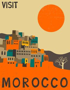 Morocco Travel Poster Art Print by Jazzberry Blue
