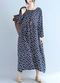 Dress - $45.70 - Floral Appliques Long Sleeve Maxi Shift Dress (1955223274)