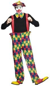Carnival Clown Costume Adult Unisex Rainbow Pants /& Suspenders Size Standard