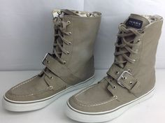 Sperry Top-Sider Khaki Grey & Camo Buckle Boots Womens Shoes Size 8 M #SperryTopSider #AnkleBoots #Casual