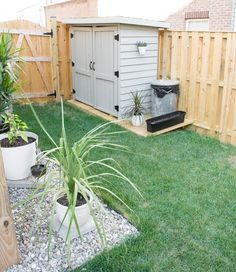Modern design ideas for a small backyard // DIY rock landscaping // Hanging herbs // small garden ideas // DIY shed ideas landscaping Tiny Backyard Ideas & An Update on My Tiny Backyard & Garden Small Garden Ideas Diy, Small Backyard Design, Small Backyard Gardens, Backyard Patio Designs, Small Backyard Landscaping, Landscaping With Rocks, Small Gardens, Backyard Ideas For Small Yards, Small Garden Design With Shed