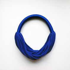 the funky party necklace - handmade in cobalt fabric