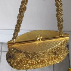 Vintage 1950s Gold Beaded Metal Lid Purse Evening Bag by Flashbax, $35.00