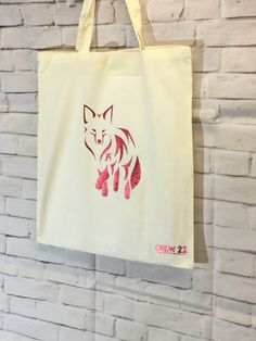 Tote Bag Natural Cotton with Sparkle Red Fox Design by Crew22 on Etsy https://www.etsy.com/uk/listing/286533115/tote-bag-natural-cotton-with-sparkle-red